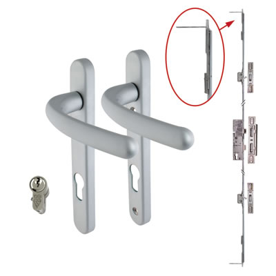 5 Point Multipoint Lock Kit with Windsor Handle - 35mm Backset - Satin Chrome