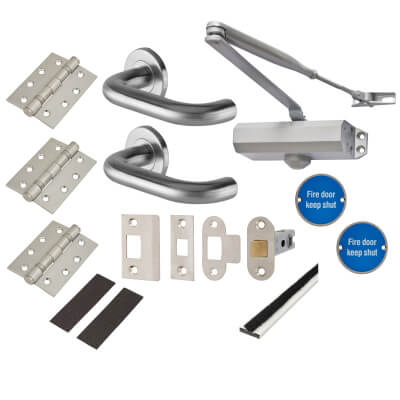 Light Duty Door Handle on Rose Fire Door Kit - Latch - Satin Stainless