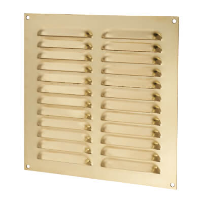 Hooded Louvre Vent - 229 x 229mm - 9975mm2 Free Air Flow - Polished Brass