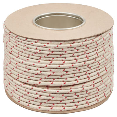 Everlasto No.2 Red Spot Waxed Sash Cord - 6mm - 100M Coil)