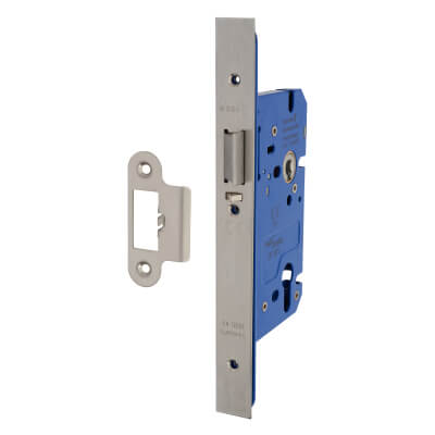 A-Spec Architectural DIN Euro Mortice Nightlatch - 85mm Case - 60mm Backset - Satin Stainless