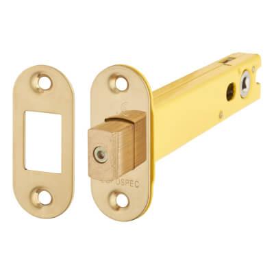 Altro 5mm Tubular Bathroom Deadbolt - 127mm Case - 108mm Backset - Radius - PVD Brass