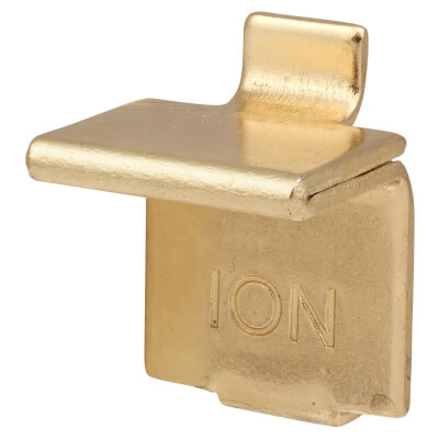 ION Heavy Duty Flat Bookcase Clip - Electro Brass Plated - Pack 10