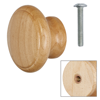 Cabinet Knob - Maple Lacquered - with Bolt & Insert - 50mm - Pack of 5