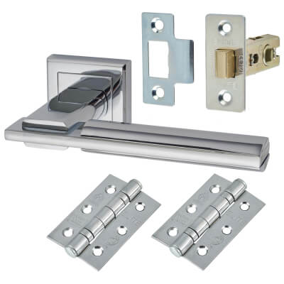 Morello Alpha Lever Door Handles on Rose - Door Kit - Polished Chrome