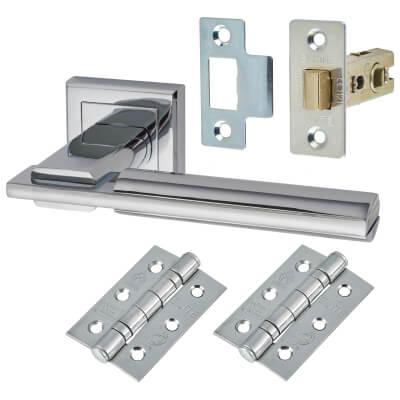 Morello Alpha Lever Door Handles on Rose - Door Kit - Polished Chrome