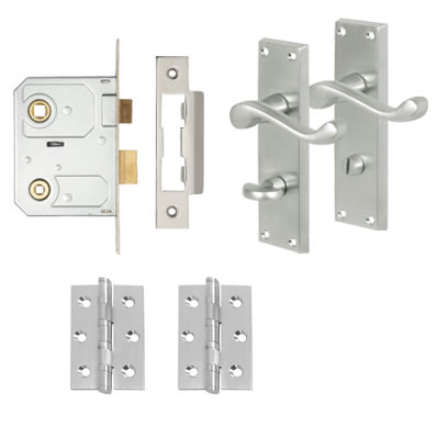 Aglio Victorian Scroll Handle Door Kit - Bathroom Lock Set - Satin Chrome