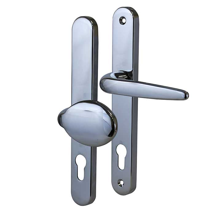 Trojan Sparta - Multipoint Handle - uPVC/Timber - 92/62mm Centres - Offset Lever/Pad - Chrome