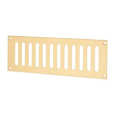 Plain Slotted Vent - 229 x 76mm - 4085mm2 Free Air Flow - Polished Brass