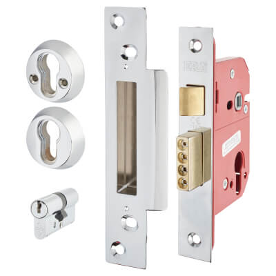 ERA® Fortress BS3621:2007 Euro Profile Sashlock - 76mm Case - 56mm Backset - Chrome Effect