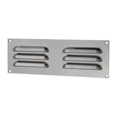 Hooded Louvre Vent - 229 x 76mm - 2470mm2 Free Air Flow - Satin Stainless