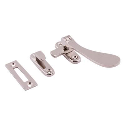 Cast Victorian Casement Hook & Plate Fastener - Polished Nickel