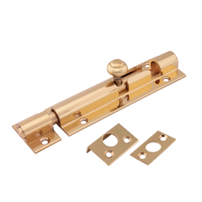 Decorative Straight Barrel Bolt - 100 x 32mm - Polished Brass)