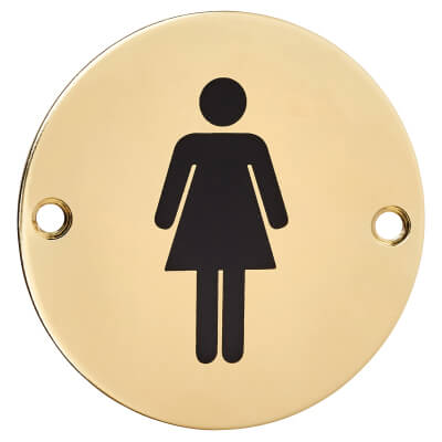 Ladies Toilet Sign - 75mm - Polished Brass)