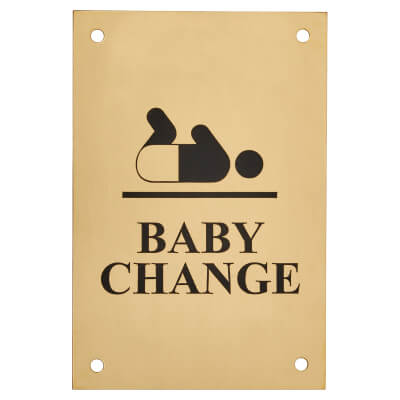 Baby Change - 150 x 100mm - Polished Brass