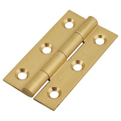 Solid Drawn Hinge - 50 x 28 x 1.45mm - Satin Brass