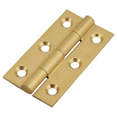 Solid Drawn Hinge - 50 x 28 x 1.45mm - Satin Brass