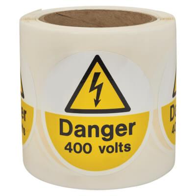 Self Adhesive Vinyl Labels - Danger 400 Volts