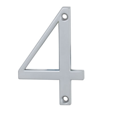 76mm Numeral - 4 - Satin Chrome