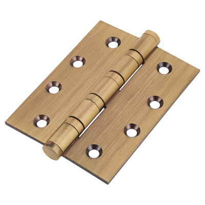 Performance Ball Bearing Hinge - 100 x 75 x 3mm - Antique Brass - Pair)