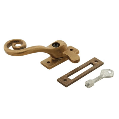 Louis Fraser Locking Curly Tail Window Fastener - Left Hand - Oil Rubbed Bronze)