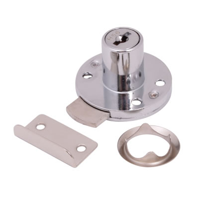 Round Drawer Lock - 16.5 x 20mm - Chrome Plated