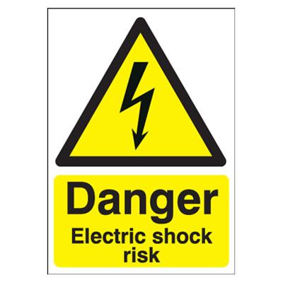 Danger Electric Shock Risk - 420 x 297mm)
