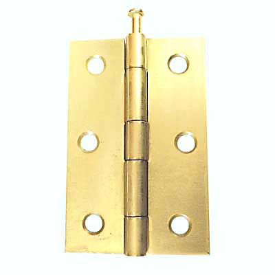 Loose Pin Steel Hinge - 75 x 50mm - Brass Plated - Pair
