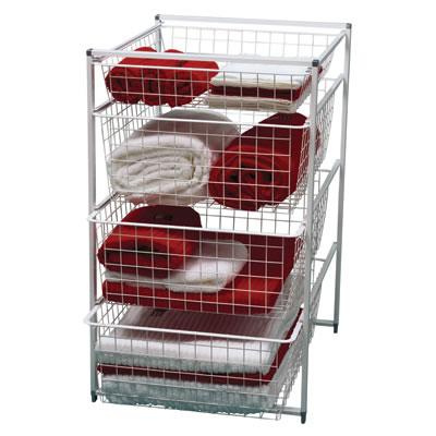 elfa® Basket Tower - 1 x Shallow Basket/3 x Medium Baskets - 740 x 450 x 540mm - White)