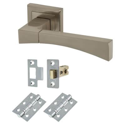 Elan Salerno Lever Door Handle on Rose - Door Kit - Satin Nickel)