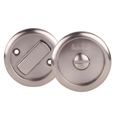 KLÜG Round Flush Privacy Turn & Release Set - 63mm Diameter - Satin Nickel