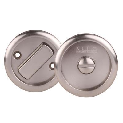 KLÜG Round Flush Privacy Turn & Release Set - 63mm Diameter - Satin Nickel