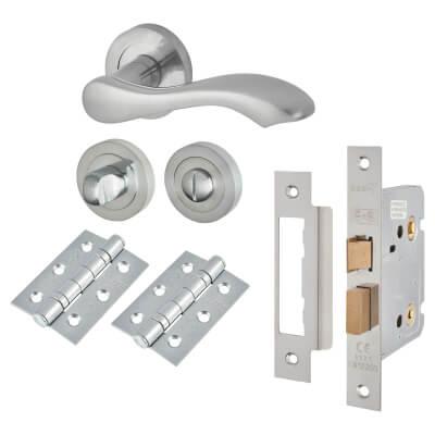 Touchpoint Scarlett Lever Door Handle - Bathroom Lock Kit - Satin Chrome