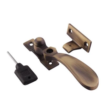 Cast Victorian Casement Locking Wedge Fastener - Antique Brass