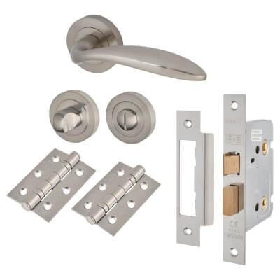 Touchpoint Morgan Lever Door Handle - Bathroom Lock Kit - Satin Nickel