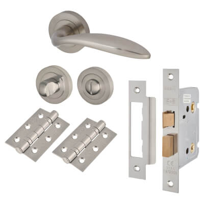 Touchpoint Morgan Lever Door Handle - Bathroom Lock Kit - Satin Nickel