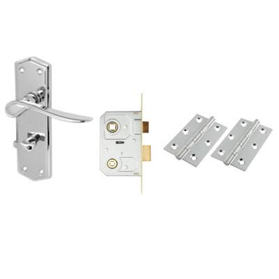 Aglio Rome Door Kit - Bathroom lockset - Polished Chrome
