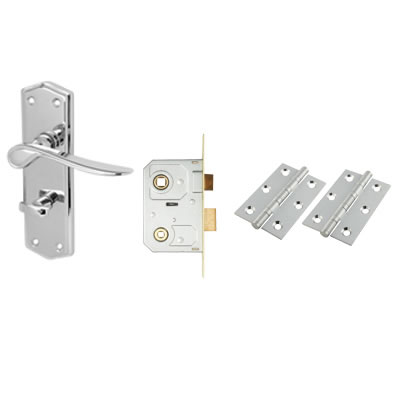 Aglio Rome Door Kit - Bathroom lockset - Polished Chrome