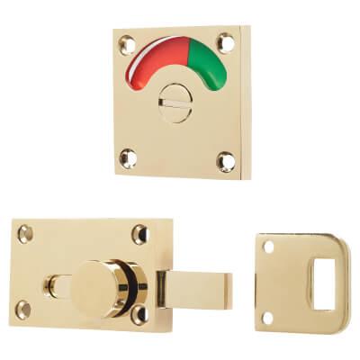 London Washroom Indicator Bolt - Polished Brass