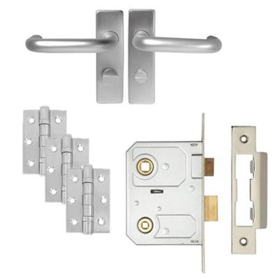 Lever on Backplate Door Kit - Bathroom Lock - Aluminium