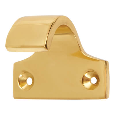 Heavy Cast Pattern Sash Lift - 47 x 36mm - Polished Brass