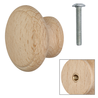 Cabinet Knob - Raw Beech - with Bolt & Insert - 50mm - Pack of 5