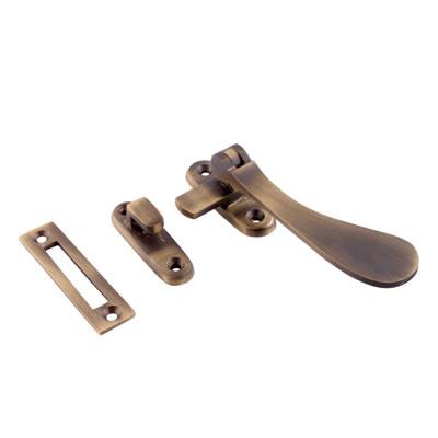 Cast Victorian Casement Hook & Plate Fastener - Antique Brass
