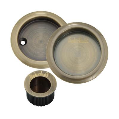 KLÜG Round 3 Piece Flush Handle Set - Antique Brass