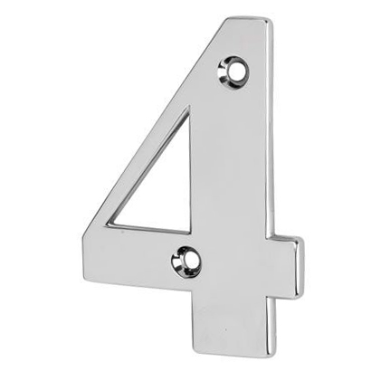 76mm Numeral - 4 - Bright Chrome
