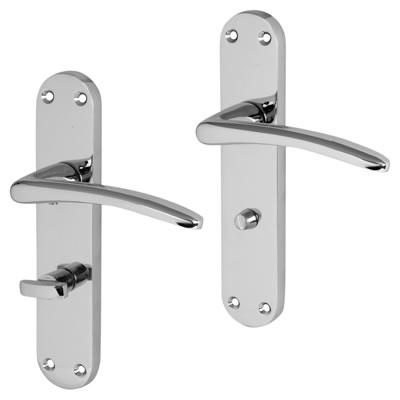 Touchpoint Salerno Door Handle - Bathroom Set - Polished Chrome