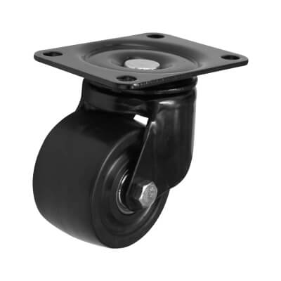 Coldene Low Level and High Load Castor - Swivel - 200kg Maximum Weight - Black)