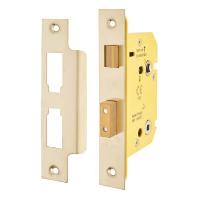 Altro Bathroom Lock - 78mm Case - 57mm Backset - PVD Brass