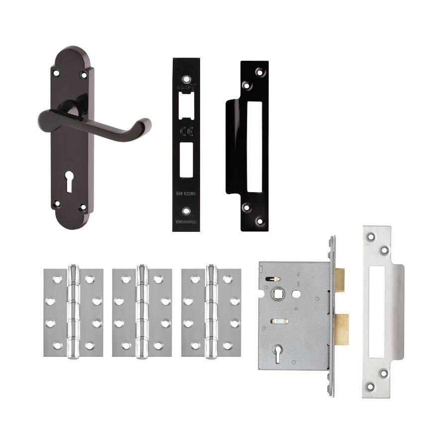Aglio Victorian Summer Handle Door Kit - Keyhole Lock Set - Black Nickel