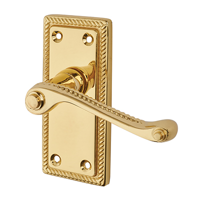 Touchpoint Budget Rope Edge Scroll Door Handle - Latch Set - Polished Brass